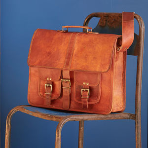 Large Brown Strap Style Leather Satchel - bags