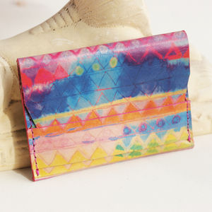 Aquarelle Rainbow Leather Card Wallet - summer sale
