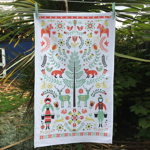 100% Cotton Woodland Tea Towel In A Christmas Style - view all new