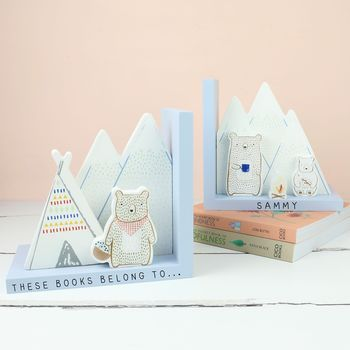 Personalised Wooden Bear Camp Bookends