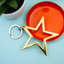 Gold Or Silver Star Keyring