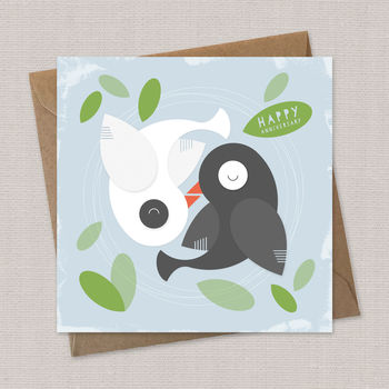 anniversary card, yin and yang, love birds card, greeting card, love card
