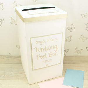 Personalised Gold Sparkle Wedding Post Box