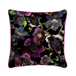 Midnight Floral Botanical Silk Cushion