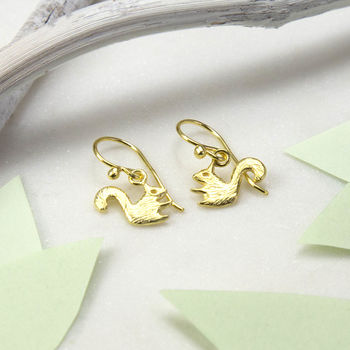 Gold Plated Sterling Silver Squirrel Earrings