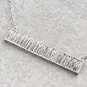 Heavy Hammered Silver Bar Necklace