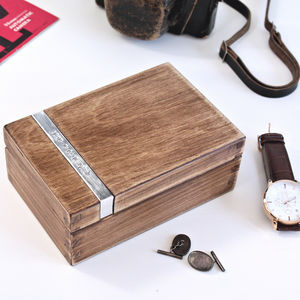 Personalised Wooden Cufflink Watch Box - watch storage