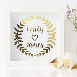 Personalised Laurel Framed Couples Print