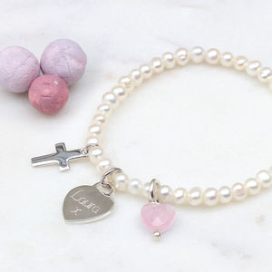 Girl's Personalised Silver Christening Pearl Bracelet - flower girl jewellery