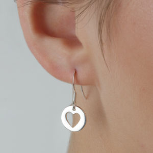 Dainty Silver Heart Cut Out Drop Earrings - earrings