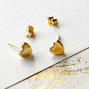 Gold Plated Soft Love Heart Stud Earrings