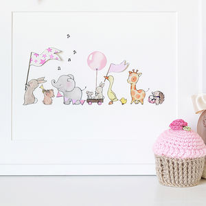 Personalised Pink Parade Nursery Print - baby's room
