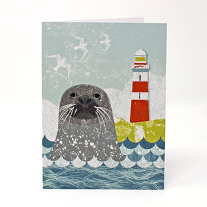 Seal And Lighthouse Card