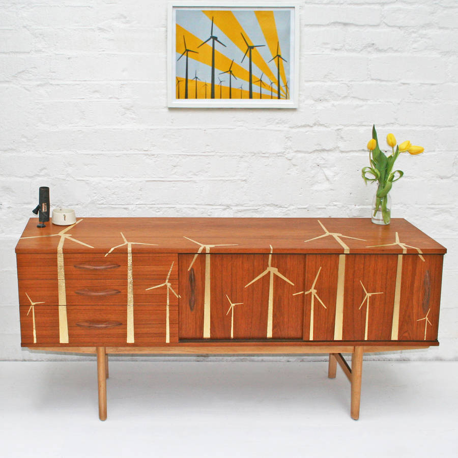 Gold leaf wind farm mid century sideboard