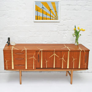Gold Leaf 'Wind Farm' Mid Century Sideboard - furniture