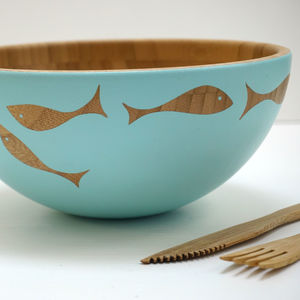 Hand Painted Bamboo Serving Bowl - bowls