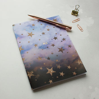 Personalised Name Initials A5 Cloudy Stars Notebook