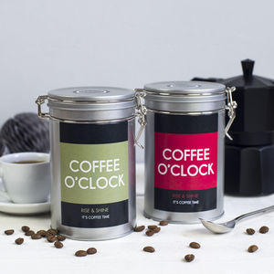 'Coffee O' Clock' Coffee Gift Tin - tins, jars & bottles