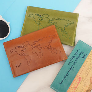 Personalised Leather Passport Holder With World Map - birthday gifts