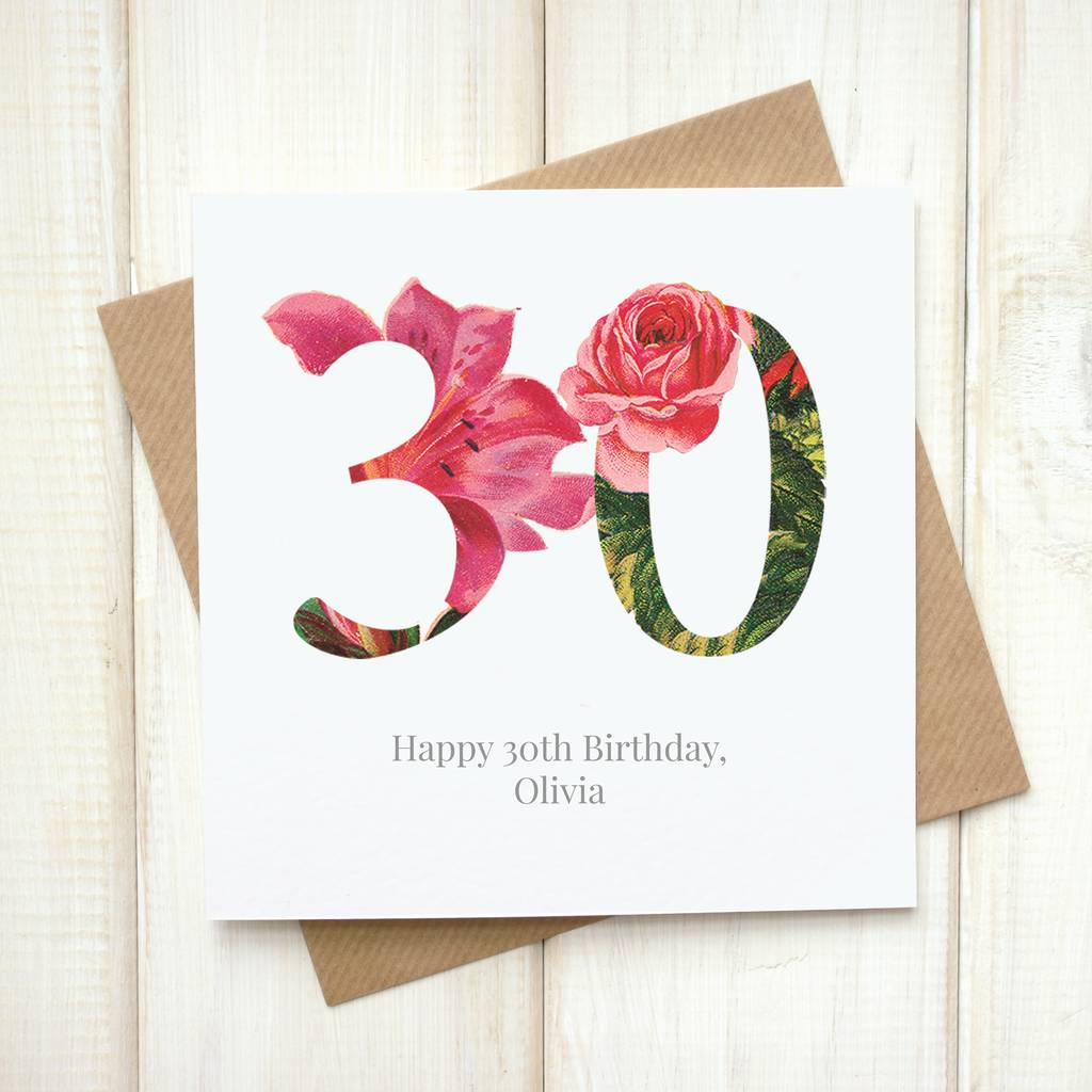 Personalised Floral 30th Birthday Card