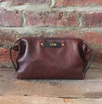 Men's Personalised Leather Wash Bag