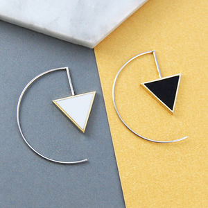 Geometric Triangle Monochrome Silver Earrings