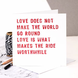 Love Card; 'Love Makes The Ride Worthwhile' - shop by category