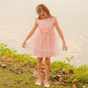 Girls French Designer Flower Dress - clothing