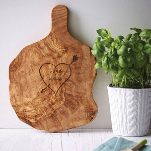 Personalised Tree Heart Carved Cheese/Chopping Board