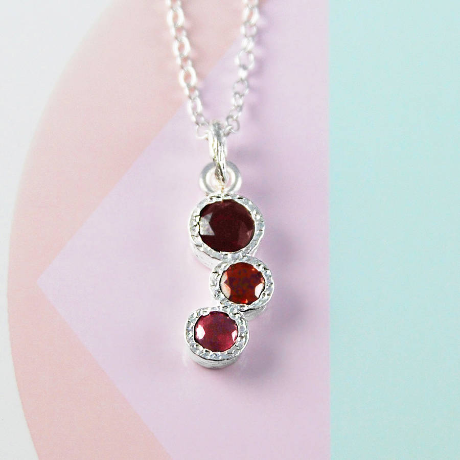 Pink Ruby Jewellery: Birthstone Pink Ruby Garnet Silver Necklace By Embers