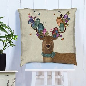 Woodland Deer And Owls Decorative Cushion