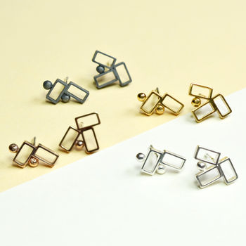 Geometric Handmade Irregular Silver Stud Earrings