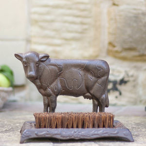 Cast Iron Cow Boot Brush - art & decorations