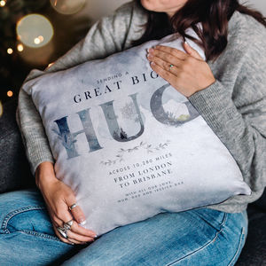 Personalised 'Hug Across The Miles' Winter Cushion - gifts for her