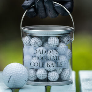 Personalised Gift Bucket Of Chocolate Golf Balls