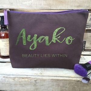 Personalised 'Chocolate Brown' Luxury Wash Bag