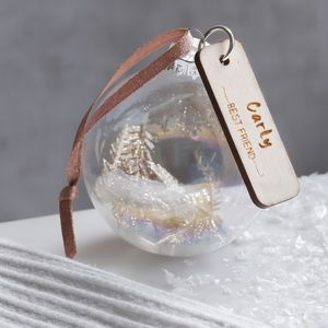 Best Friend Personalised Glass Bauble Decoration - tree decorations