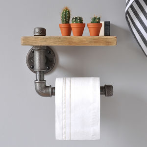 Industrial Toilet Roll Holder And Shelf - bathroom
