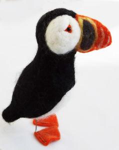 Needle Felted Collectible Puffin - sculptures