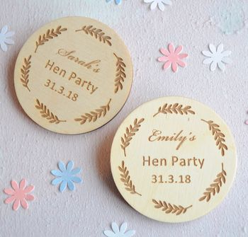 Personalised Hen Party Wooden Badges