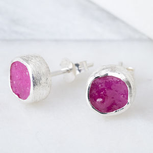 Natural Rough Ruby Studs July Birthstone - july birthstone