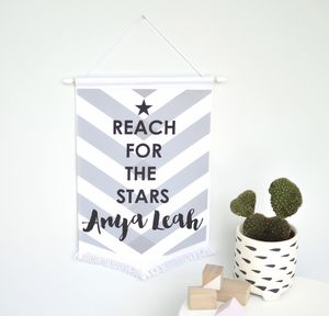 'Reach For The Stars' Banner Flag - door plaques & signs