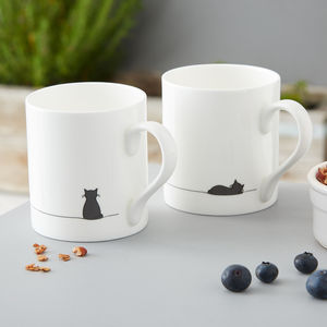 Sitting Cat And Sleeping Cat Mug, Set Of Two