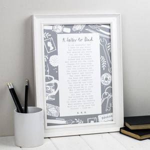 Personalised Letter To Dad Poem Print