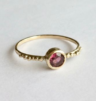 Sun Ring Solid 9ct Yellow Eco Gold With Garnet