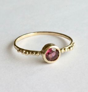 Sun Ring Solid 9ct Yellow Eco Gold With Garnet - engagement rings
