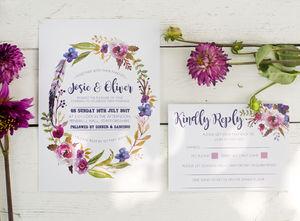 Bohemian Watercolour Floral Wedding Stationery - summer wedding