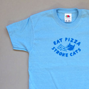 Eat Pizza Stroke Cats Screenprinted Kids' T Shirt