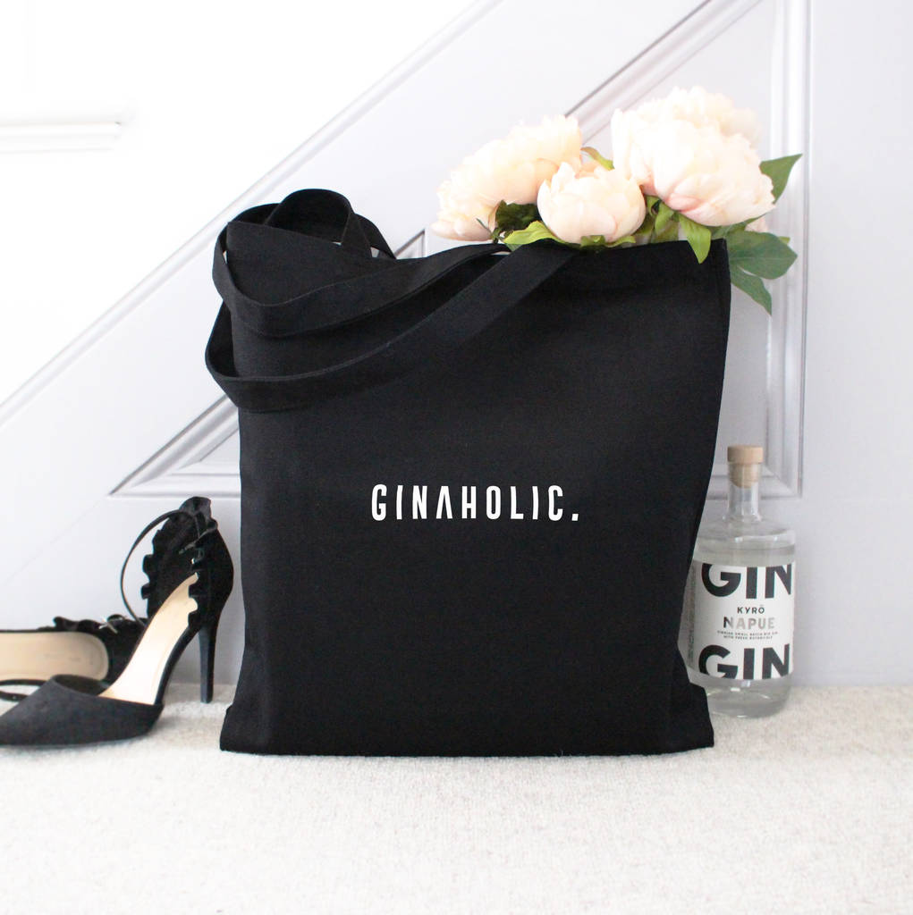 'ginaholic' Large Black Tote Bag by Precious Little Plum