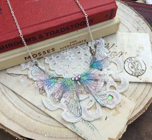 Purple Rainbow Faerie Wing Delicate Necklace